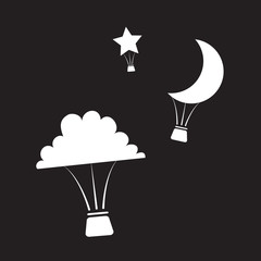 Hot air balloons shaped like nighttime shapes