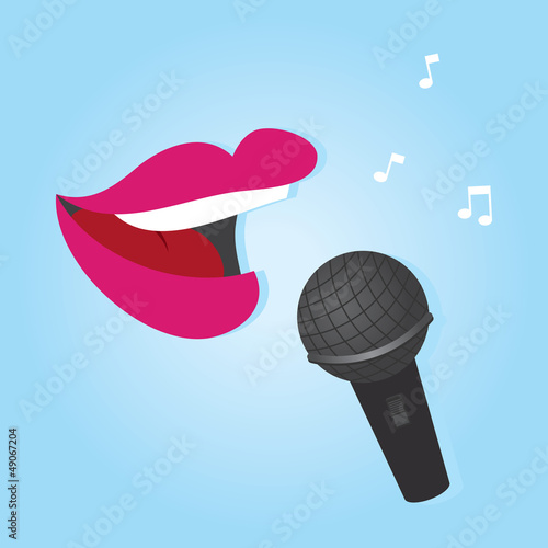 Woman's lips singing into microphone