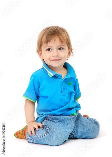 cute little boy, isolated on white