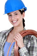 Happy woman laborer
