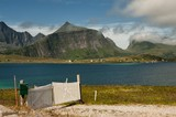 Lonely gate in Lofoten, northern Norway
