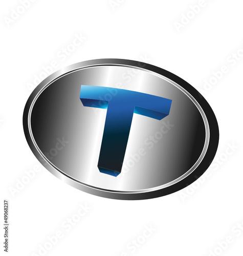 3D T letter emblem
