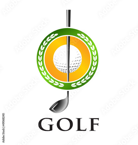 Golf club with ball emblem