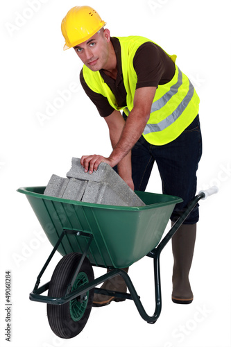 Laborer with a wheelbarrow