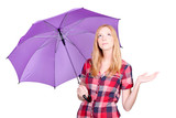 Woman with violet umbrella