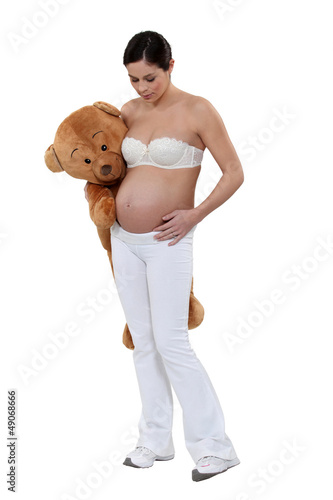 Woman with a teddy bear