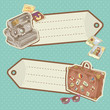 Retro-style Travel discount stickers with bag and camera