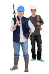 Two workers with axe