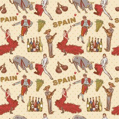 Spain seamless repeating pattern with spanish symbols