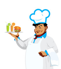 Funny Chef with hamburger and fresh fruit juice.Food bistro