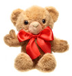 Classic teddy bear with red bow thrumb up isolated on white back