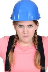 Blond female builder