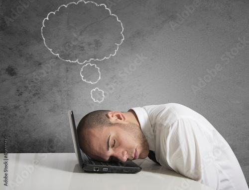 Businessman dreams while sleeping
