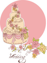Wedding cake for wedding invitations or announcements.