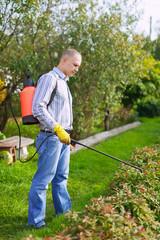 Man works with garden spray