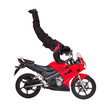 Biker doing handstands on his motorcycle