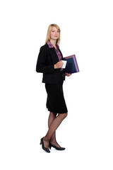 Woman with coffee cup and folders