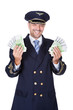 Portrait Of Happy Pilot Holding Euros