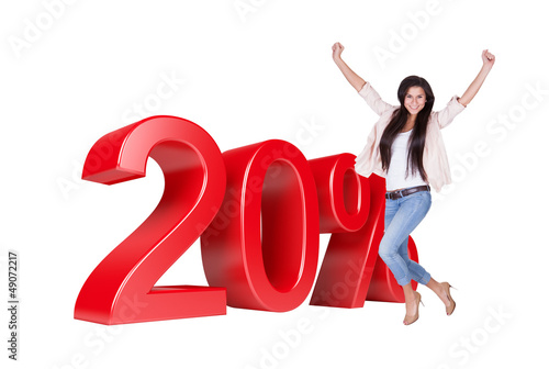 Exited Woman Jumping In Front Of 20% Sale Discount