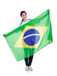 Pretty Woman Holding Brazilian Flag