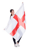 Pretty Woman Holding An English Flag