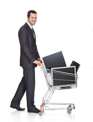 Cheerful Businessman Shopping Lcd Monitors