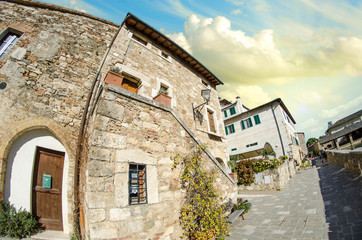 Typical Ancient Homes of a Medieval Town in Tuscany