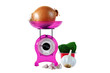 Magenta kitchen scales and vegetables
