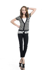 Pretty young woman in stripy t-shirt and jeans,