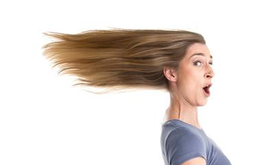 Stress - Frau in Eile - Haare isoliert