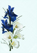 bouquet with dark blue iris flowers
