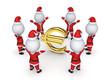 Santas around sign of euro.