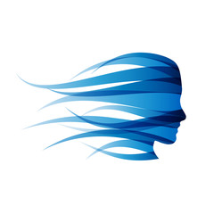 Logo blue girl in the wind # Vector