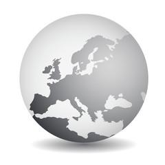 Europe Globe Grey
