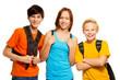 Three kids with school backpacks