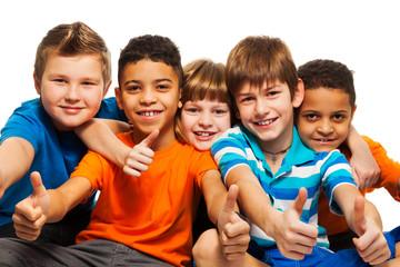 A row of five happy kids