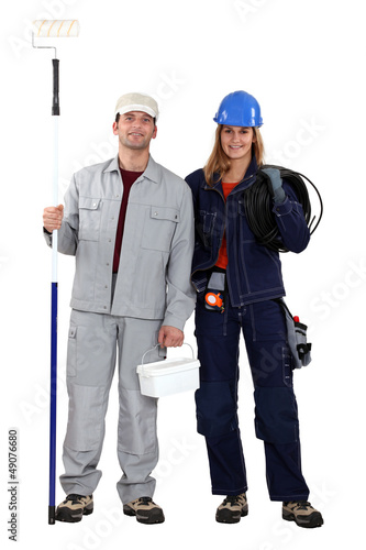 Male decorator female electrician