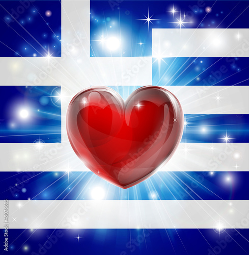 Love Greece flag heart background