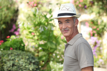 mature gentleman in garden