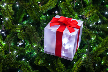 New year gift on x mas tree .