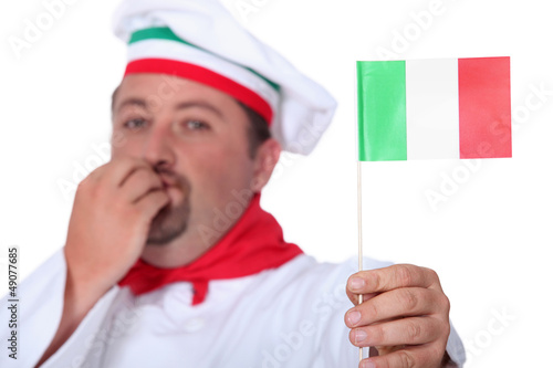 Chef holding Italian flag