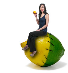 Woman Sitting on a lemon lime