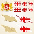 Georgia Map blank and regional, Vector 3D pack and Coat of Arms