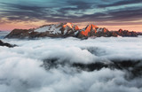 Fototapety Beautiful spring landscape in the mountains. Sunset - Italy Dolo