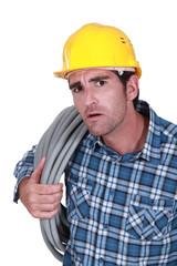 plumber looking stunned