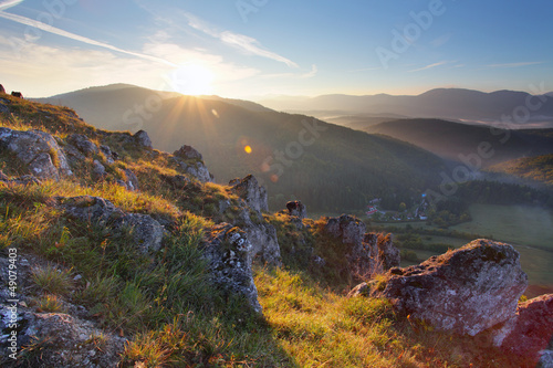 Mountain panorama with sun
