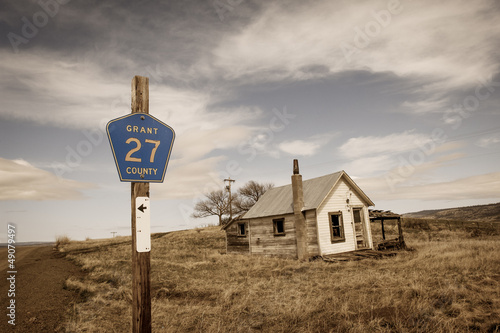 Ghost town by the rural road in Central Oregon