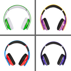 Collage of headphones different colors
