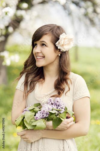 Portrait of elegant beautiful girl outdoors