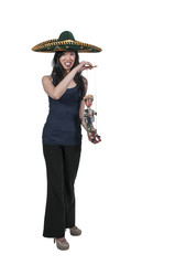 Woman with Sombrero and Marionette